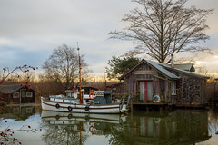 Finn Slough (iPhilFlash) Tags: ca winter sky house canada water sunrise river outdoors boat fishing outdoor britishcolumbia columbia richmond british fraser finn fishingboat slough fraserriver finnslough