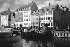 Nyhavn (Niels Nrskov) Tags: bw film analog copenhagen denmark nyhavn boat kodak harbour trix olympus fishingboat olympustrip35 yellowfilter