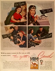 """""""Their Cigarette Is Camel"""" (saltycotton) Tags: vintage magazine flying factory ad smoking advertisement camel 1940s cigarettes pilot 1944 womanshomecompanion"""