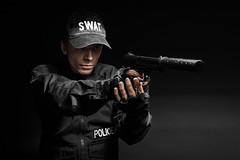 SWAT police officer with pistol (zabielin) Tags: white infantry studio soldier army us war uniform gun ranger force counter mask military rifle helmet police assault special american armor cop pistol terror terrorism law enforcement vest anti spec tactics officer operator swat gi weapons nato forces ops policeman commando task firearms armed specialforces warfare tactical antiterrorism antiterror specops