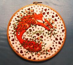 Dreaming little Fox (Daniela.H.) Tags: hoop embroidery dream sew felt dreaming fox bustle fuchs filz stickring sticken traum trumen