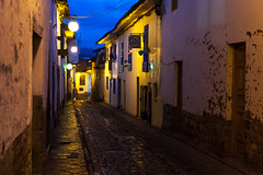 Cusco at Night _0643 (hkoons) Tags: road street lamp night evening highway nightlights streetlamp path streetscene transportation nightscene lamps avenue pathway worldheritage plazadearmas conveyance unescosworldheritage