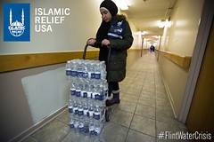 Islamic Relief USA distributed water to all the government housing projects in Flint.
