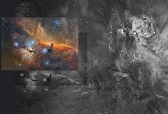 """The Orion Nebula skyscape. """"The Space walk"""" (www.moonrocksastro.com) Tags: sky cloud white abstract black texture water monochrome night stars landscape gold star waterfall skies outdoor wizard space ngc deep surreal fast astro best creation nebula astrophotography soul astrofotografia astronomy swift pillars universe phd takahashi mx astronomia lunar cosmos vixen deepspace paramount hubble emission nebulosa stelle cepheus 171 starlight moonrocks 214 dso cassiopeia xpress vsd nebulae textur baader nebulosity skywatcher narrowband 7380 sharpless 7822 eq6 fsq106 astrodon qhy5 10micron mn190 sh2171 sxvrh18 ederblad"""