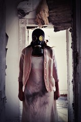 Stay (Byrds Eye Photography) Tags: portrait people abandoned girl lost photography emotion forgotten gasmask apocalyptic darkart
