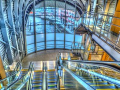 New Entrance HDR (tubblesnap) Tags: camera new bridge station river fuji south escalator leeds entrance railway adobe wharf hybrid aire hdr concourse granary lightroom tonemapped xs1