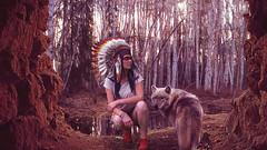 anais & wolf 2 (Xavier R. photographe amateur) Tags: chien photoshop nikon wolf dante femme compo belle loup jolie d200 fille indien copier compositing amerindien indienne coller