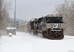 With all this cold weather and snow talk again from another winter storm system on the east coast, here is NS 276 dashing through the snow with a pair of EMD leading the way (MrRailfan) Tags: railroad snow ns norfolk rr southern 276 emd sd70ace