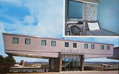 The Airwayte, Rooms Complete With Shower, Desk, Telephone, TV, And Private Intercom; An Oasis Between Flights, Washington National Airport, Washington DC (SwellMap) Tags: architecture plane vintage advertising design pc airport 60s fifties aviation postcard jet suburbia style kitsch retro nostalgia chrome americana 50s roadside googie populuxe sixties babyboomer consumer coldwar midcentury spaceage jetset jetage atomicage