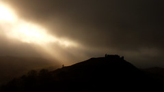 The shadow of Dinas Bran (shadowshador) Tags: uk light shadow cloud black castle wales dark grim hill gothic hills crow llangollen bran dinas the denbighshire