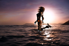 Untitled () Tags: sunset sea sun girl photomanipulation photoshop hongkong emotion fantasy lonely splash manipulate