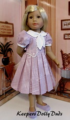 Sweet Grace in her new Pleated Frock (Keepersdollyduds) Tags: doll dress lace buttons tie grace cotton frock collar pleated keepers kidsncats keepersdollyduds