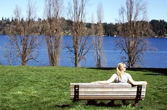 Day 038/365 - A Rare Nice Day (Great Beyond) Tags: park woman color film girl female bench 50mm iso100 kodak slide slidefilm blonde mercerisland 365 eastman parkbench slides ektachrome kodakfilm 2015 canonef50mmf14usm blondewoman eastmankodak fujichromeprovia100f kodakektachromee100vs project365 ektachromee100vs canoneosrebel3000v august2015