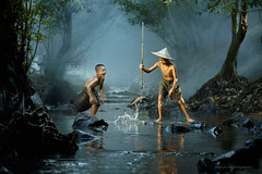 Happy moment (SaravutWhanset) Tags: fisherman fish action holiday photography asia asian cash river china chield boy explore wow