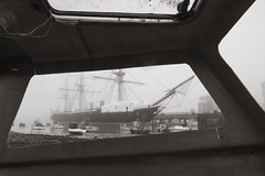 The ghost ship. (Sean Hartwell Photography) Tags: sea england blackandwhite monochrome sepia boat seaside sailing ship harbour framed hampshire retro portsmouth southcoast dockyard royalnavy hmswarrior 1122mm canoneosm3