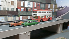 Elevated  Roadway - The New Order. (ManOfYorkshire) Tags: scale austin manchester volvo cardboard oxford converted diorama matchbox fleetline detailed 1300 diecast 176 superfast k15 oogauge thelondoner