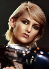 Girl on a motorbike (Studio Five Photography (Terry Allsopp)) Tags: street fashion hair glamour motorbike ear blonde motorcycle femalemodel mascara lipstick stud glamorous canon5dmarkiii