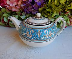 Vintage Wedgwood Porcelain Teapot ~ Florentine ~ Turquoise (Donna's Collectables) Tags: vintage turquoise teapot porcelain ~ wedgwood florentine