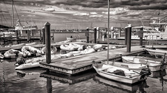 Inflatable Party (petojustin) Tags: ocean life sea blackandwhite bw seascape water monochrome zeiss marina docks sunrise boats blackwhite seaside waterfront salt shoreline stuart yachts emount sel24f18z sonnarte1824 sonya6000