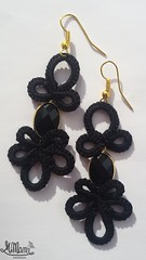 MiMan Handmade Earring - Doodle #02/ Black (MiMan) Tags: black gold lace earring bijoux hook nero pendant jewel oro tatting pizzo pendente orecchino bigiotteria chiaccherino