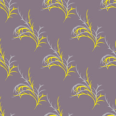 pattern with yellow sprigs (anna.nalyotova) Tags: wallpaper abstract art texture fashion illustration wrapping paper print pattern graphic decoration creative style textile ornament fabric repetition sample ornamental decor element seamless yellowline brownbackground