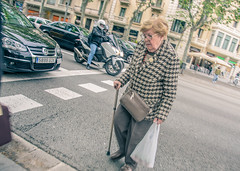 Crosswalk (Sergio Bjar) Tags: barcelona street old woman cars bcn catalonia paso crosswalk granny anciana seora peatonal streetphotgraphy