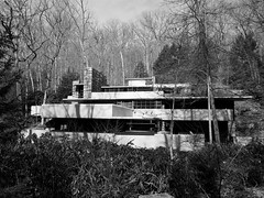 A different view (pilechko) Tags: trees blackandwhite house building monochrome architecture rural pennsylvania franklloydwright fallingwater