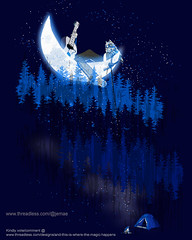 And this is where the magic happens (Jema) Tags: camping trees boy camp moon man nature illustration poster landscape outdoors design woods alone singing guitar wildlife magic crescent adventure explore campfire fantasy enjoy owl dreamy threadless magical tee mylife sitback walldecor