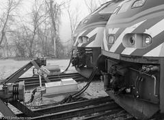 End of the Line (Jim Frazier) Tags: winter fog illinois december platform foggy trains il elgin metra railways atmospheric q3 locomotives railroads stations bumpers 2015 depots jimfraziercom