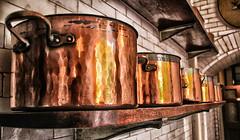 Pots and Pans (LeBlanc_Nigel) Tags: old art kitchen hall shelf pots copper pans tatton