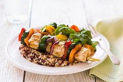 The Daniel Plan Cookbook Cover (The Daniel Plan) Tags: red brown white chicken yellow table salad healthy rice cucumber tomatoes rustic fast peppers onion easy zucchini simple quick kabob skewers cookbookcover danielplan