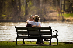 Lovers  (Dahai Z) Tags: love river bench spring afternoon warmth lovers 2016