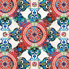 Vibrant Pattern Art - Color Fusion Design 4 By Sharon Cummings (BuyAbstractArtPaintingsSharonCummings) Tags: blue red color green floral sign modern asian star colorful pattern bright lace feminine contemporary vibrant indian highcontrast mandala thai brightcolors elegant delicate healing primary brilliant starburst bold chakras intricate asianart indianart blueandred healingmandala thaiart vintagepattern colorfulart sharoncummings uniquedesign colorfulpatterns chakracolors elegantpattern southeastasainart