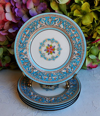 Wedgwood Porcelain Bread & Butter Plates Florentine ~ Turquoise (Donna's Collectables) Tags: bread turquoise butter plates porcelain ~ wedgwood florentine