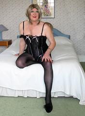 Clipblabasq-001 (fionaxxcd) Tags: crossdressing bust tranny transvestite upskirt redlipstick crossdresser basque crutch trannie mtf m2f rednail blacktights blackmules
