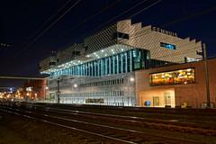 Eemhuis (railway side) (Dannis van der Heiden) Tags: longexposure building netherlands modern stars nederland railway wideangle wires rails hdr amersfoort staatsbosbeheer slta58 eemhuis