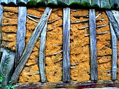 wattle and daub in wooden frames - center France (gerrygoal2008) Tags: old house building green ecology wall architecture vintage ancient timber clay builders housing wattle timbered daub masson massonnery