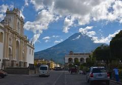 DSC_5520 (Kent MacElwee) Tags: horse latinamerica clouds volcano highlands cathedral guatemala historic unesco worldheritagesite antigua plazamayor centralamerica parquecentral 1541 saintjosephcathedral spanishcolonialcity