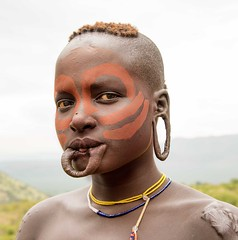 Mursi Woman, Ethiopia (Rod Waddington) Tags: africa park portrait face female african painted traditional culture valle tribal national valley afrika omovalley ethiopia tribe ethnic mago mursi cultural scarification ethnicity afrique ethiopian omo etiopia ethiopie etiopian