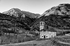 This strange Winter without Snow (drugodragodiego) Tags: blackandwhite bw italy panorama mountain church architecture landscape blackwhite pentax lombardia paesaggio biancoenero k3 chiesetta bagolino greatphotographers vallesabbia italianchurch provinciadibrescia pentaxda1650mm smcpentaxda1650mmf28edalifsdm valledelcaffaro pentaxiani pentaxart pentaxk3