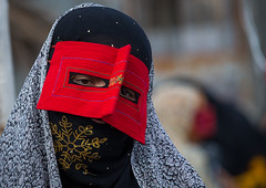 a bandari woman wearing a traditional mask called the burqa at panjshambe bazar thursday market, Hormozgan, Minab, Iran (Eric Lafforgue) Tags: red people woman face horizontal outdoors persian clothing asia veil mask iran market muslim islam religion hijab culture persia headshot hidden covered iranian bazaar adults adultsonly oneperson islamic traditionaldress burqa customs ethnicity middleeastern sunni burka chador balouch hormozgan onewomanonly burqua  bandari  embroidering 1people  iro thursdaymarket  minab unrecognizableperson colourpicture  borqe panjshambe panjshambebazar boregheh iran034i2820