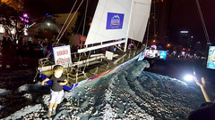 Walking on water (Roving I) Tags: boys water night babies sails statues racing aquafina yachts toddlers clipper roundtheworld