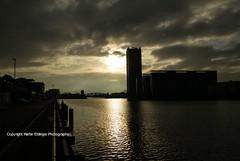 Blick auf den Allianz tower in Berlin 05022016(1) (MartinE157) Tags: sky sun reflection water river kreuzberg cloudy spree friedrichshain 900am byday elsenbridge minimalpictureedits