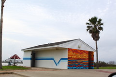 Jetty Park ~ Surfside Beach (West Beach Sunset) Tags: park winter tree art beach water umbrella canon outdoors colorful paint texas artistic digitalart creative january palmtrees restroom paintjob vividcolors publicrestroom surfside shipchannel surfsidebeach jettypark coldwinterday sooc cd010 t1i eosrebelt1i