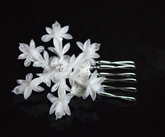 snowflake kanzashi. silk organza. (Bright Wish Kanzashi) Tags: snowflake flower art hair asian japanese pin handmade style ornament fabric ornate fiber technique tsumami kanzashi