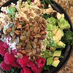 Red and Green Bowl (Vegan Feast Catering) Tags: pumpkin avocado salad vegan lemon coconut bowl cilantro kale raspberries coucous scallion pumpkinseeds gojiberries hemphearts