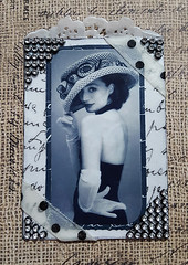 """Vintage Lady With a Hat"" (Kathy Skaggs) Tags: artisttradingcard vintagephoto swapbot vintageephemera collageatc ladywithahat"