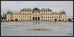 Winter Palace (Rob McC) Tags: vienna wien winter snow building ice architecture austria outdoor columns grand palace symmetry staircase refelection belevedere