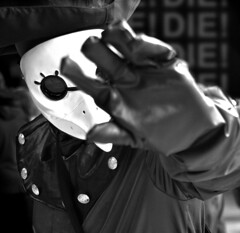 Creed (Owen J Fitzpatrick) Tags: ojf people photography nikon fitzpatrick owen j joe street pavement chasing d3100 ireland editorial use only ojfitzpatrick eire dublin republic city candid tamron comic con dslr camera edgy design stand character cosplay costume scary mask white mono monochrome black blackandwhite blackwhite bw buttons hand block gesture action assassins assassin creed game anime masquerade glove danger doctor plague brotherhood mcm comicon blancoynegro pretoebranco schwarzundweis  hiybi  hi y bi nigra kaj blanka