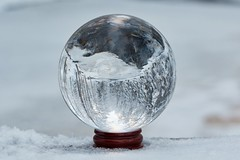 Crystal ball in the winter (Digikuvaaja) Tags: christmas xmas winter stilllife white snow blur cold glass ball finland river season globe shiny december shine crystal bokeh outdoor earth background object magic seasonal decoration nobody glossy fantasy sphere round ethereal bubble translucent dreamy transparent magical cristal reflexion snowglobe crystalball chrystal glittering